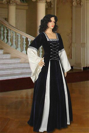 Ladies Deluxe Medieval Renaissance Costume and Headdress Size 8 - 12 Petite Shorter Length Image