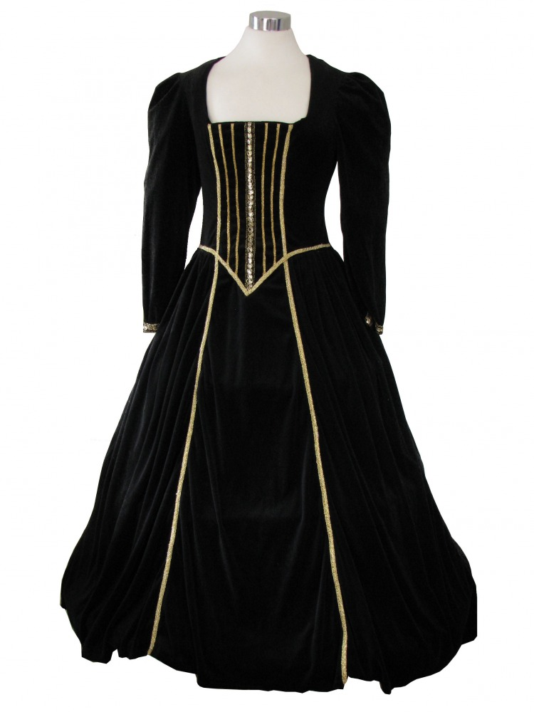 Ladies Medieval Tudor Ann Boleyn Costume And Headdress Size 12 - 14 Image