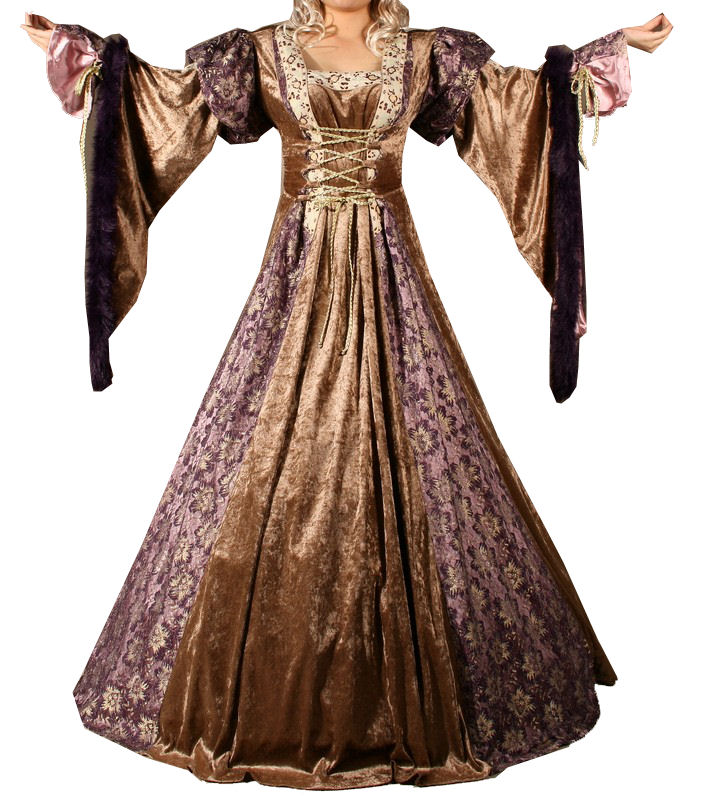 Ladies Deluxe Medieval Renaissance Costume And Headdress Size 10 - 12 Image