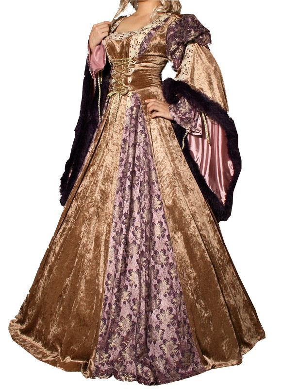 Ladies Deluxe Medieval Renaissance Costume And Headdress Image