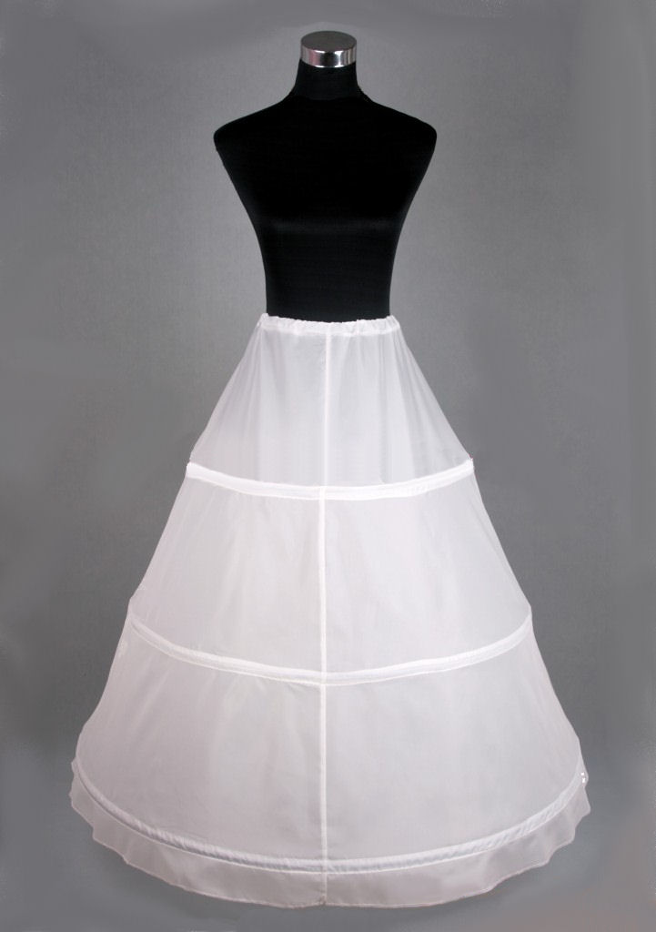 Ladies White Medieval Victorian Three Hooped Underskirt Image