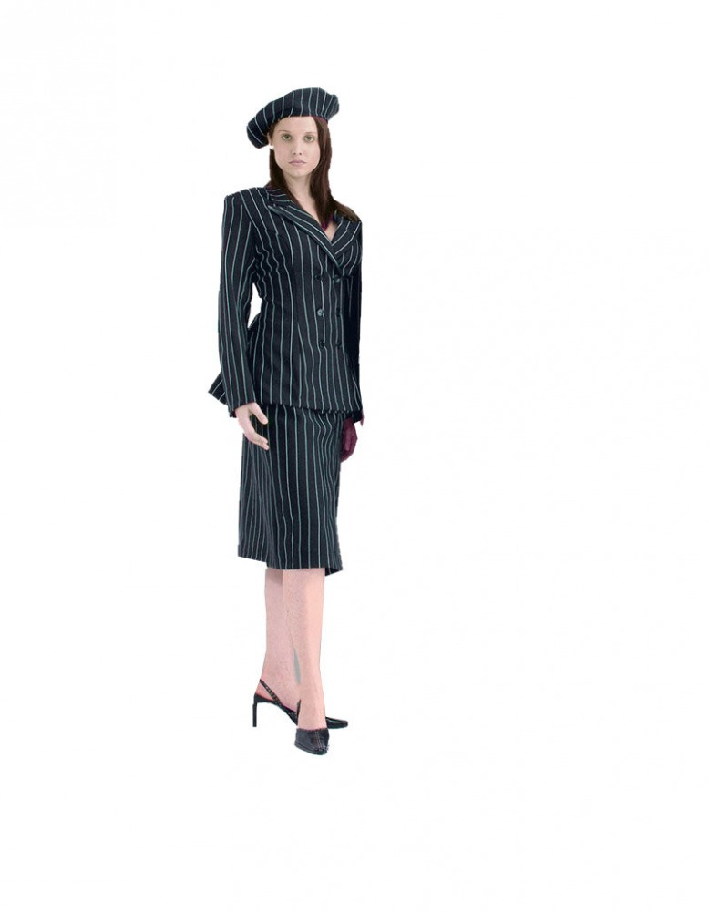 Ladies Quality Gangster Costume Size 10 - 12 Image
