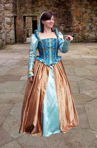 Ladies Deluxe Medieval Tudor Costume and Headdress Size 8 - 10 Image