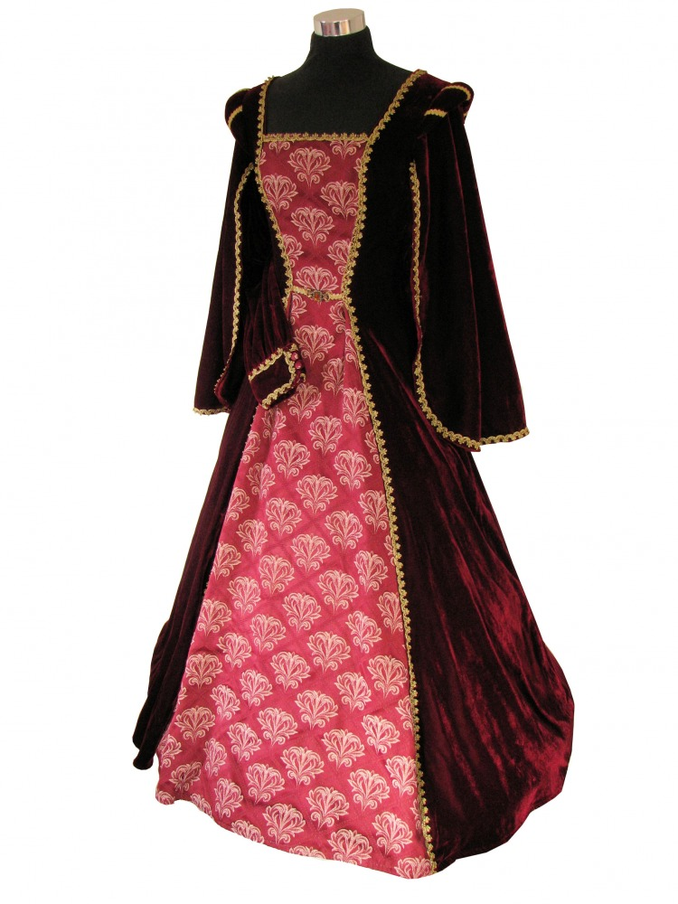 Ladies Petite Medieval Tudor Ann Boleyn Costume And French Hood Headdress Size 8 - 10 Image