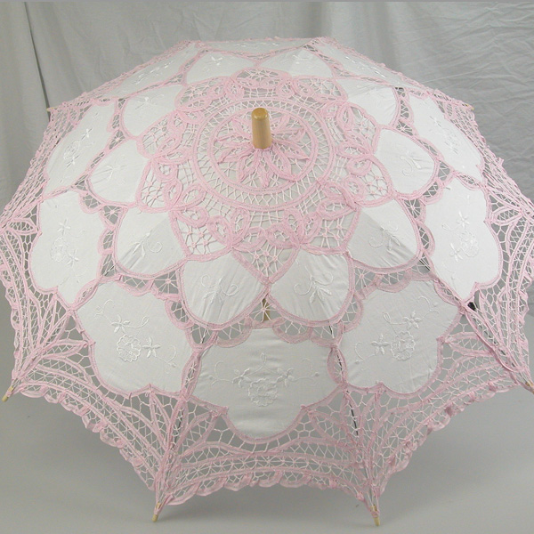 Ladies White And Pink Lacy Handmade Regency Victorian Parasol  Image