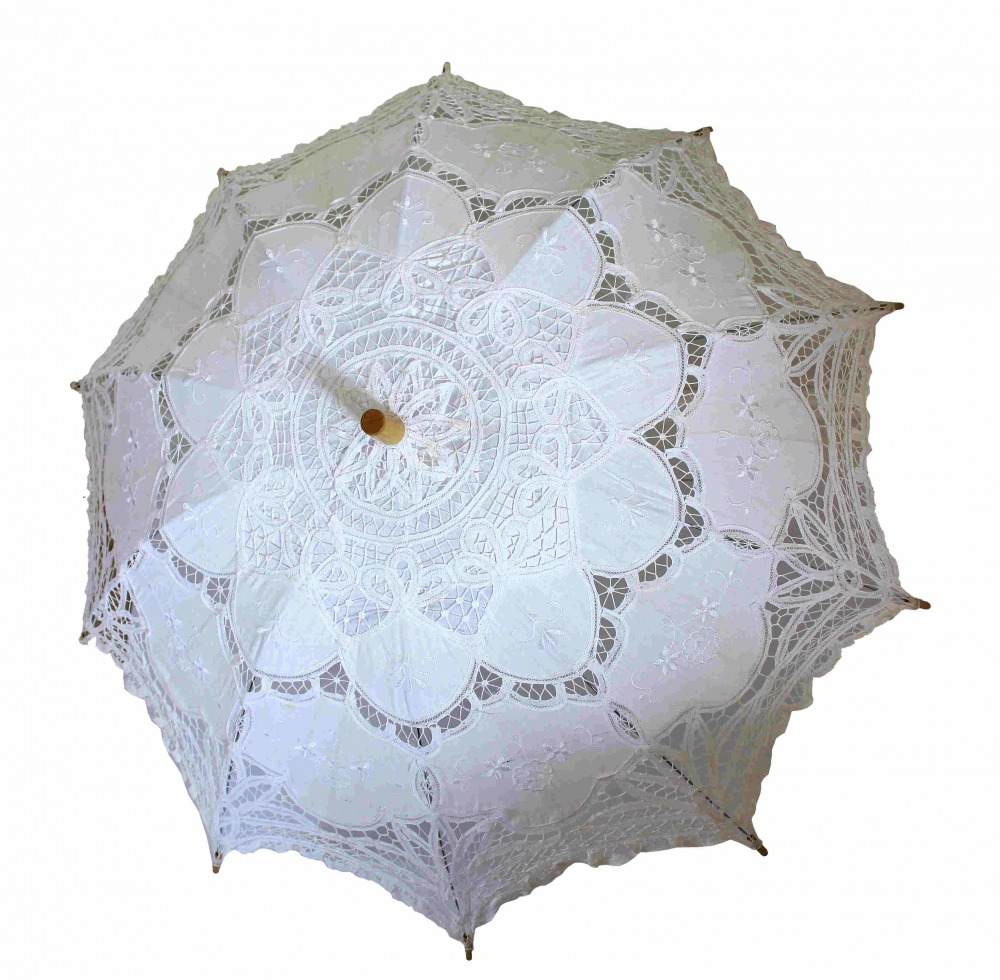 Ladies White Lacy Handmade Regency Victorian Parasol  Image