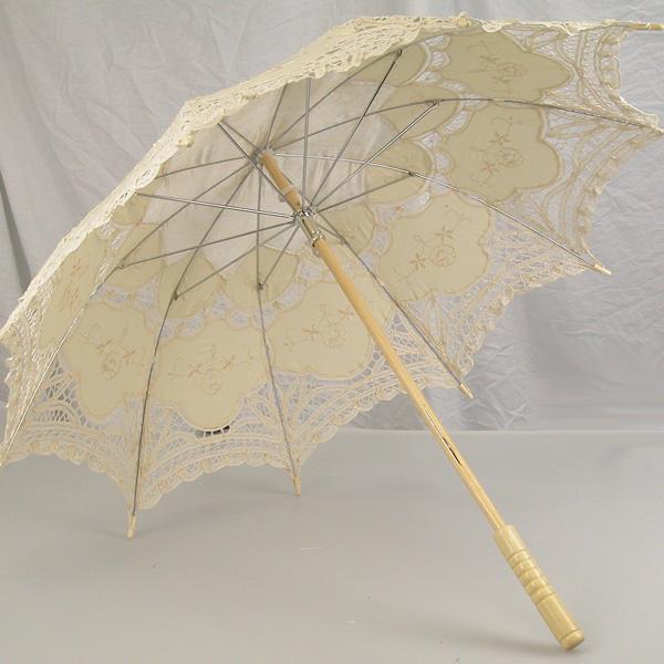 Ladies Cream Lacy Handmade Regency Victorian Parasol Image