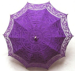 Ladies Purple Lacy Handmade Regency Parasol  Image