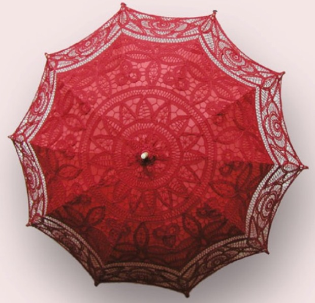 Ladies Red Lacy Handmade Regency Parasol  Image
