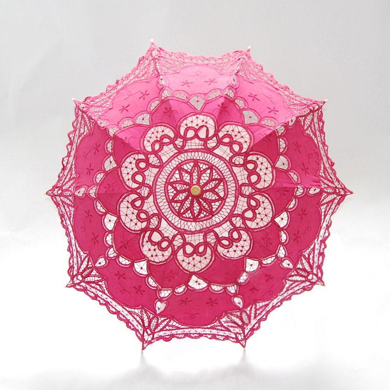 Ladies Pink Lacy Handmade Regency Parasol  Image