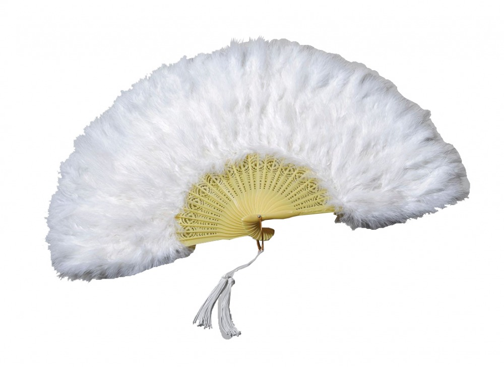 Ladies White 18th Century Marie Antoinette Masked Ball Feather Fan Image