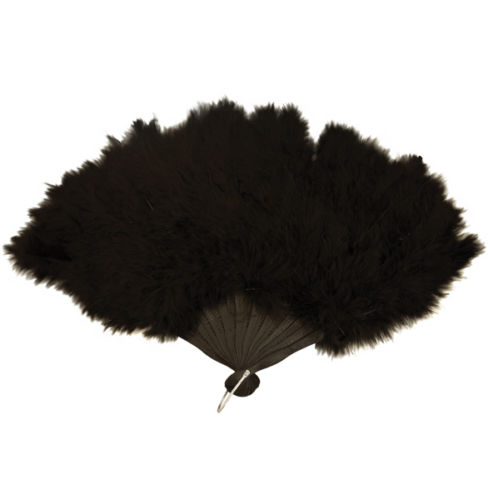 Ladies Black 18th Century Marie Antoinette Masked Ball Feather Fan Image