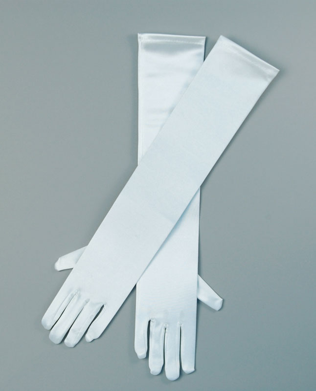 Ladies Long White Satin Over The Elbow Opera Gloves Image