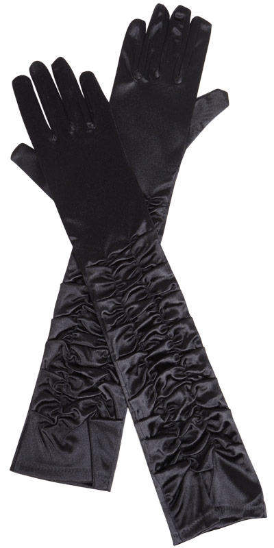 Ladies Long Black Ruched Satin Over The Elbow Opera Gloves Image