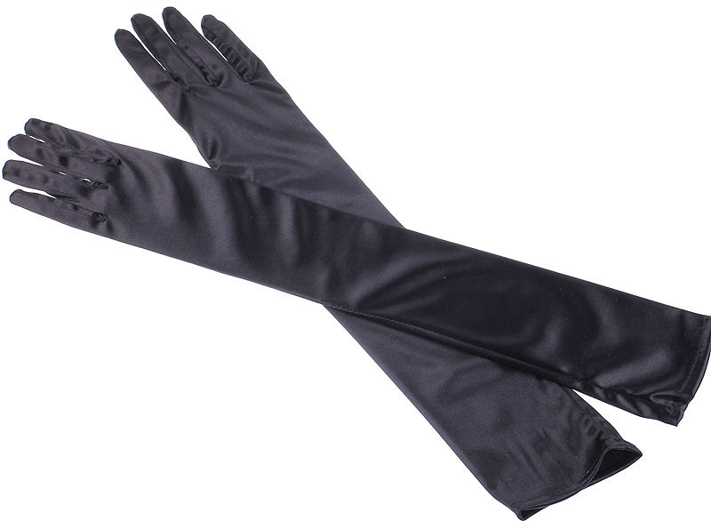 Ladies Long Black Satin Over The Elbow Opera Gloves Image