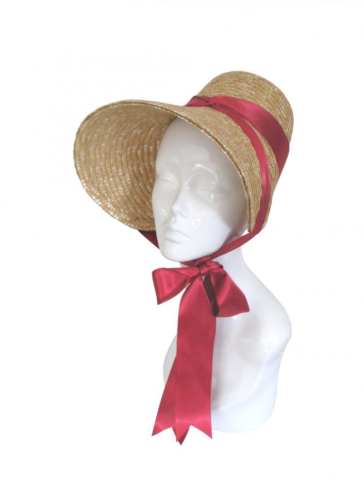 Ladies Jane Austen Regency Straw Poke Bonnet Image