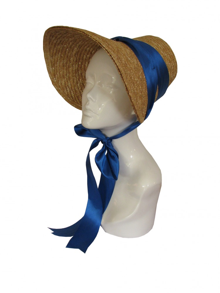 Ladies Jane Austen Regency Straw Poke Bonnet Image