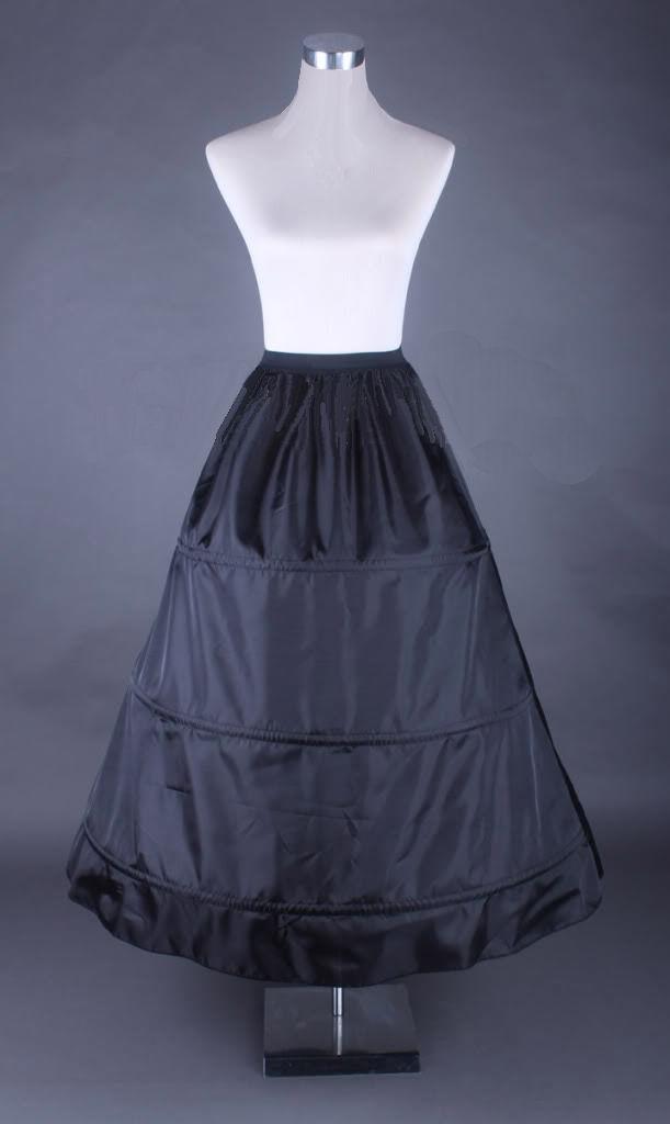 Ladies Black Medieval Georgian Victorian Three Tiered Underskirt  Image