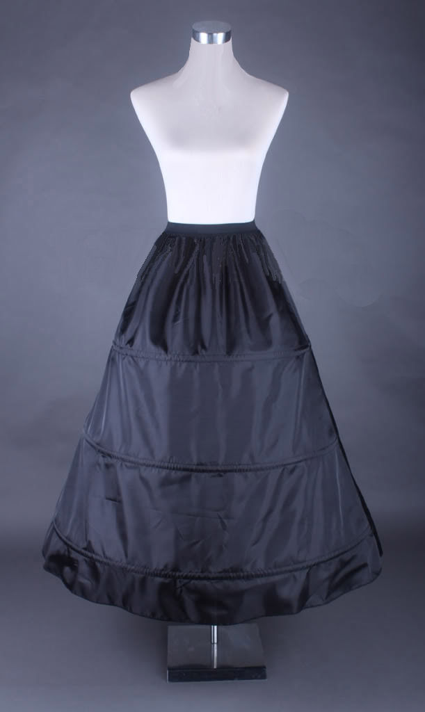 Ladies Black Medieval Georgian Victorian Three Tiered Underskirt  Image