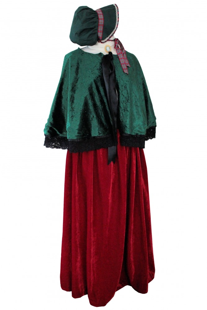 Ladies Victorian Carol Singer School Mistress Costume and Bonnet Size 12 - 14 Image