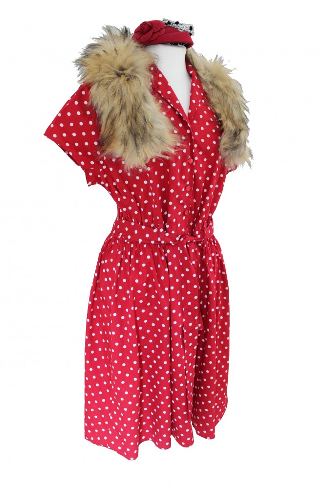 Ladies 1940's Style Tea Dress Wartime Goodwood Costume Size 16 - 18 Image