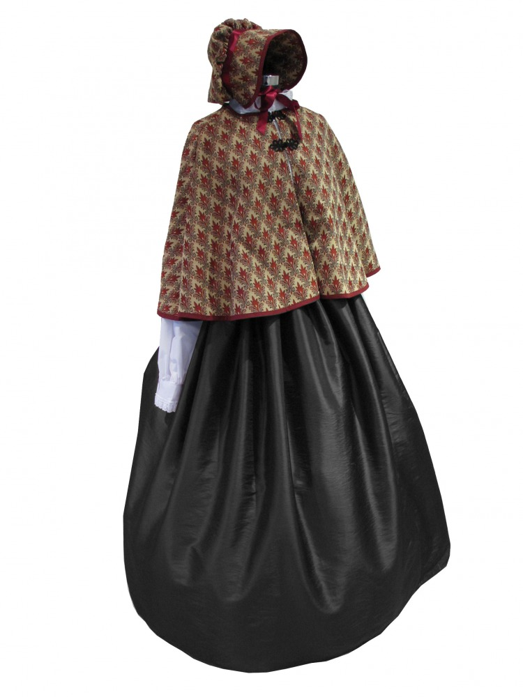 Ladies Victorian Carol Singer School Mistress Costume and Bonnet Size 10 - 12 Image