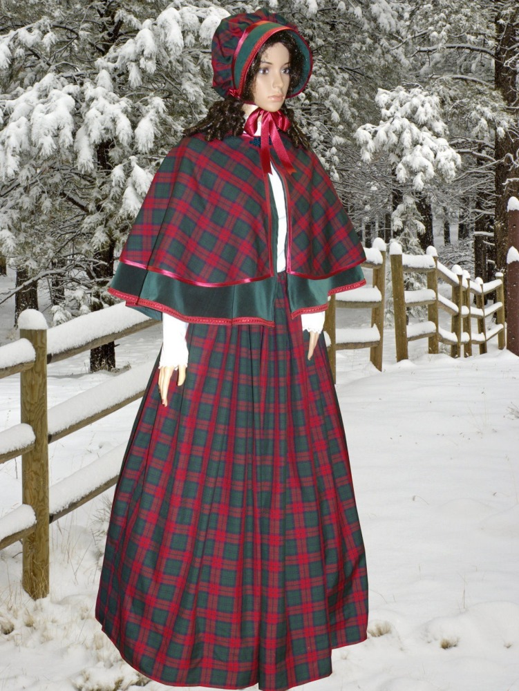 Ladies Victorian Carol Singer School Mistress Costume and Bonnet Size 28 - 30 Image