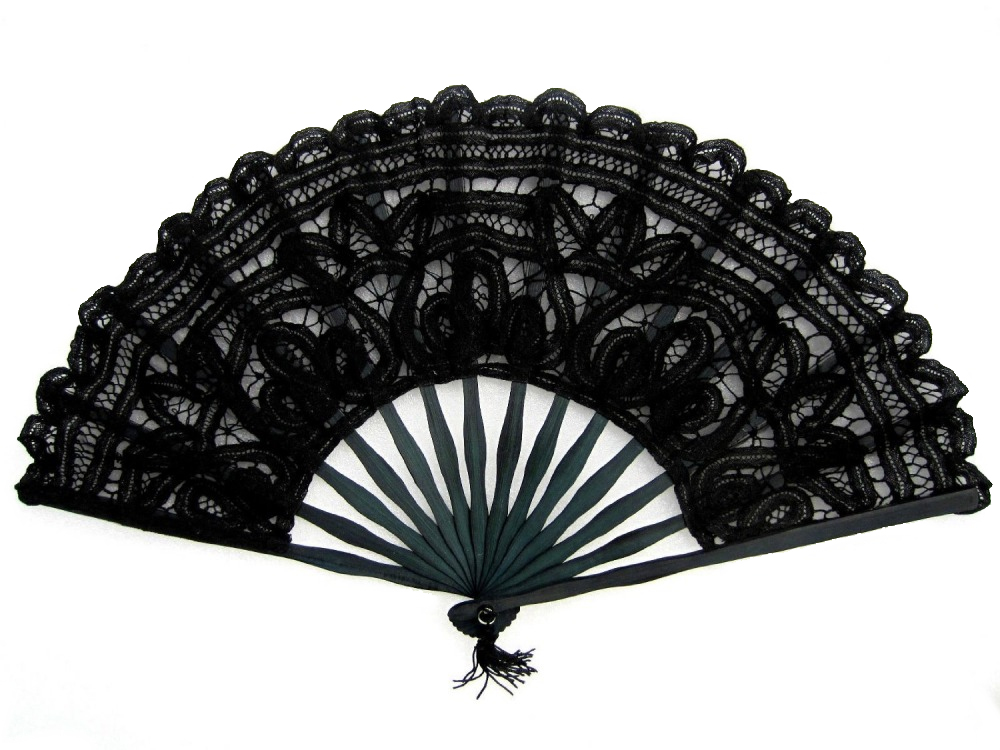Ladies Black 18th Century Marie Antoinette Masked Ball Handmade Cotton Lace Fan Image