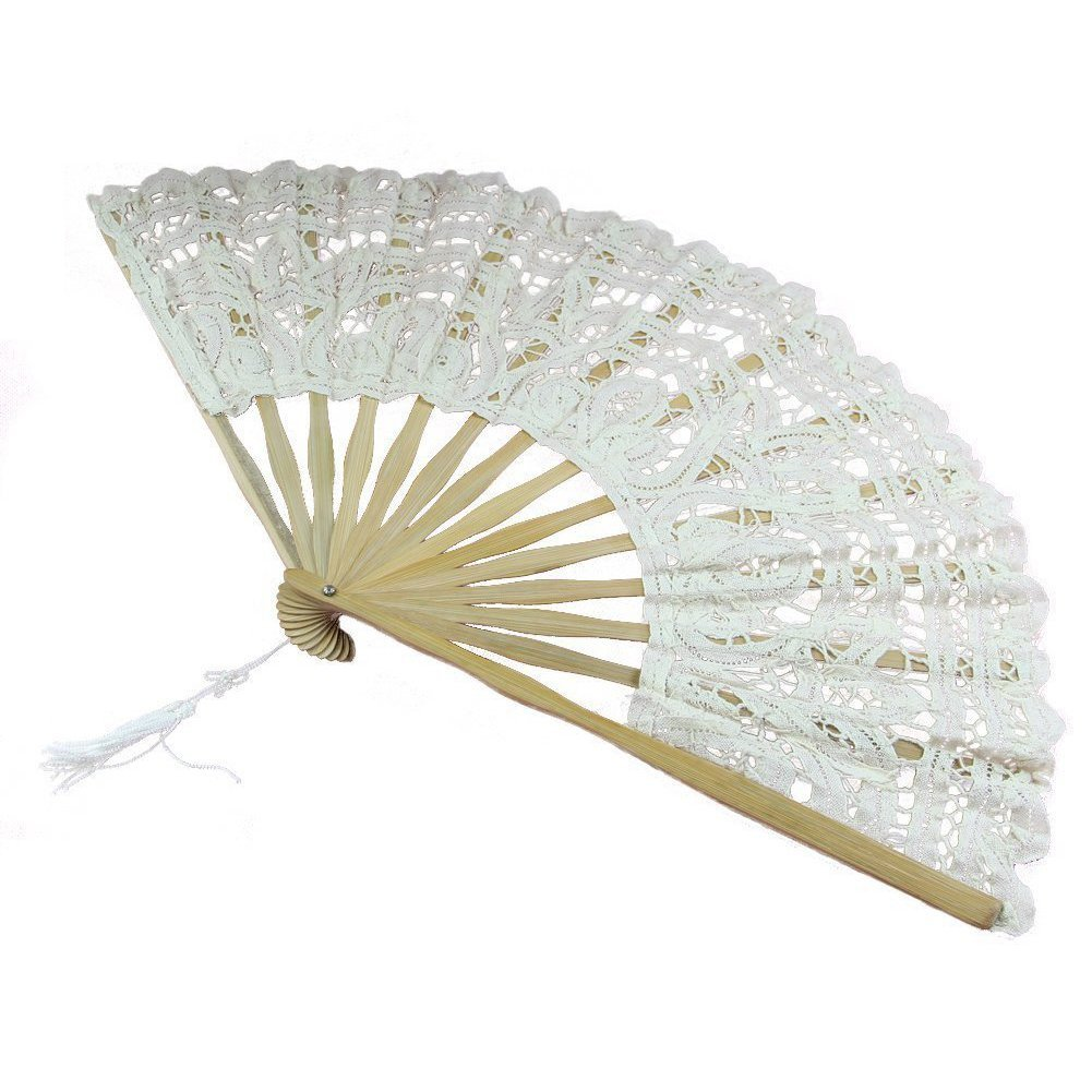 Ladies Cream 18th Century Masked Ball Victorian Handmade Cotton Lace Fan Image