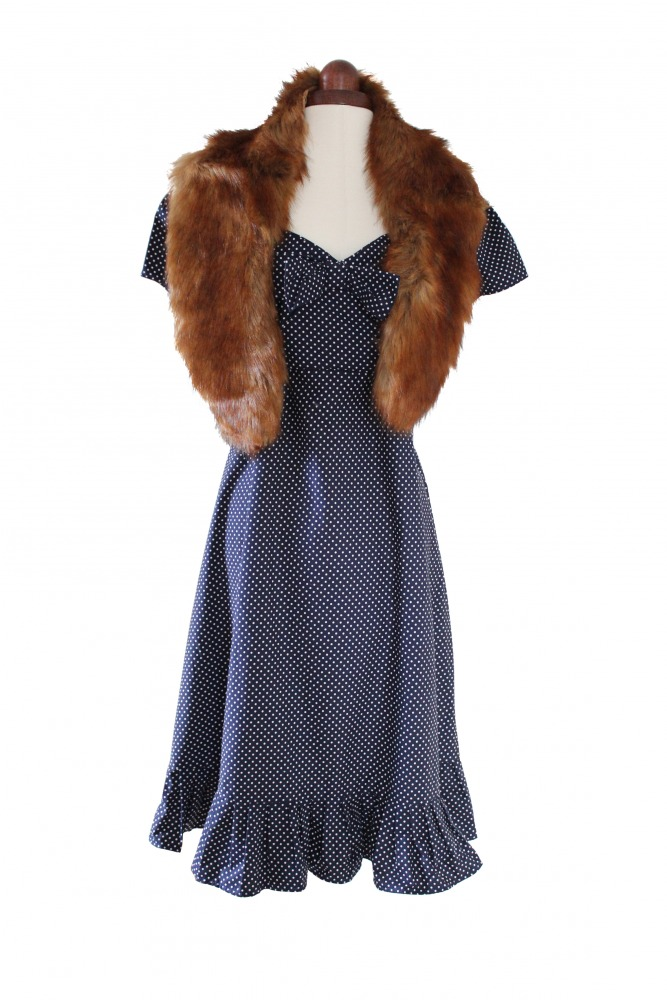 Ladies 1940s Style Tea Dress Wartime Goodwood Costume Size 14 - 16  Image