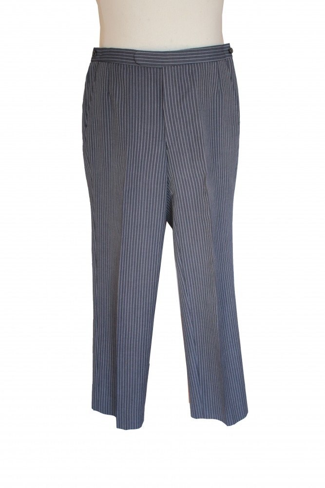 Men's Victorian Edwardian Pinstriped Morning Suit Trousers W34 L31 Image