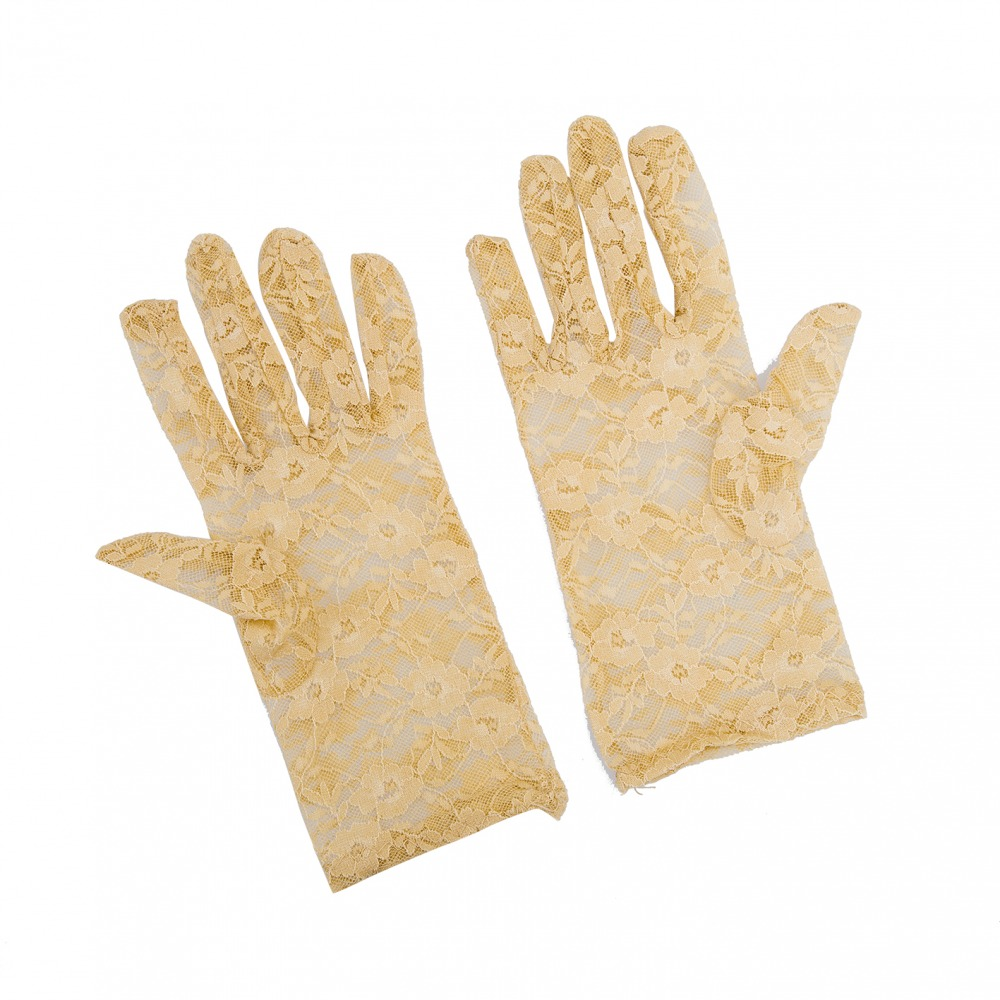 Ladies Cream Victorian Regency Lacy Gloves Image