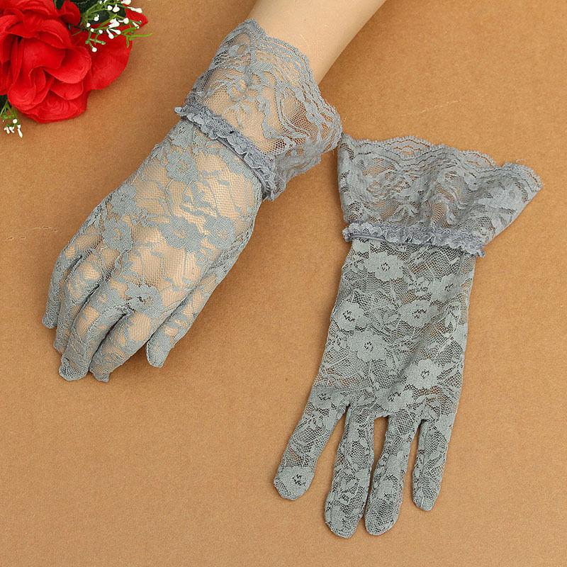 Ladies Grey Victorian Regency Lacy Gloves Image