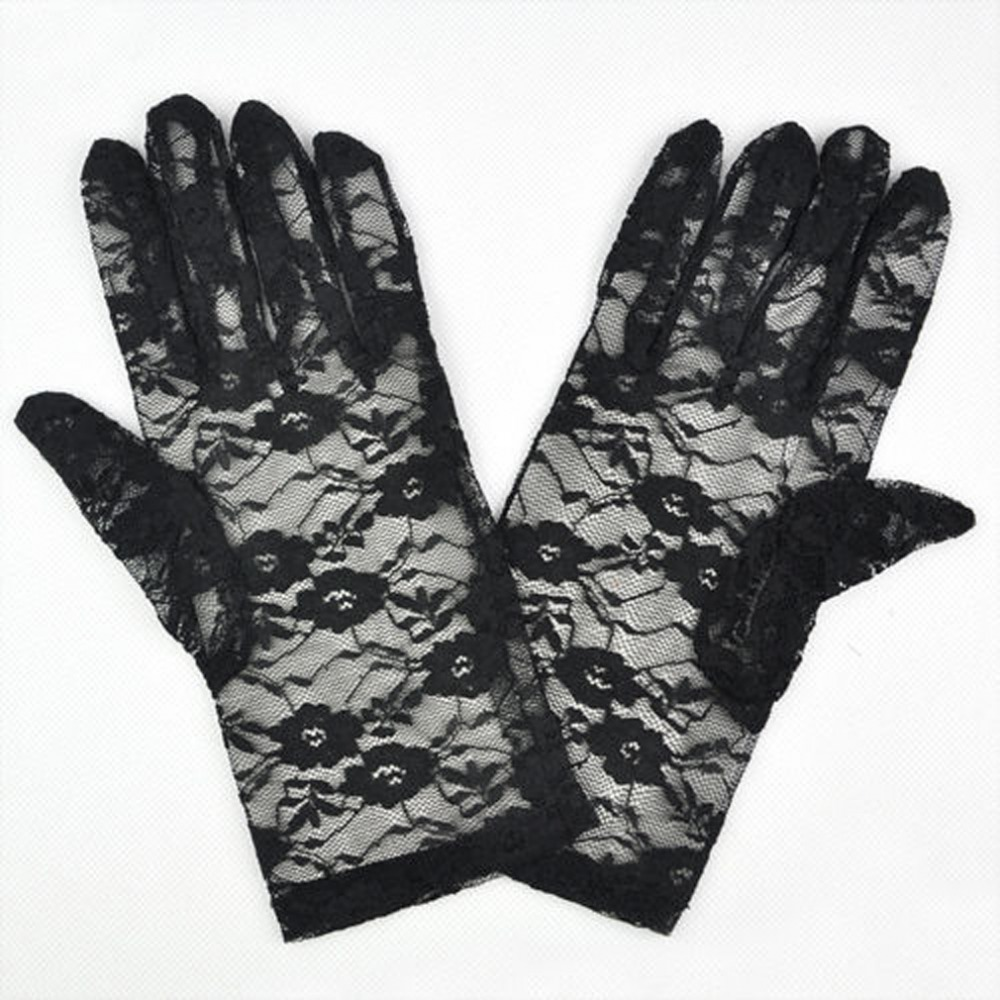 Ladies Black Victorian Regency Lacy Gloves Image