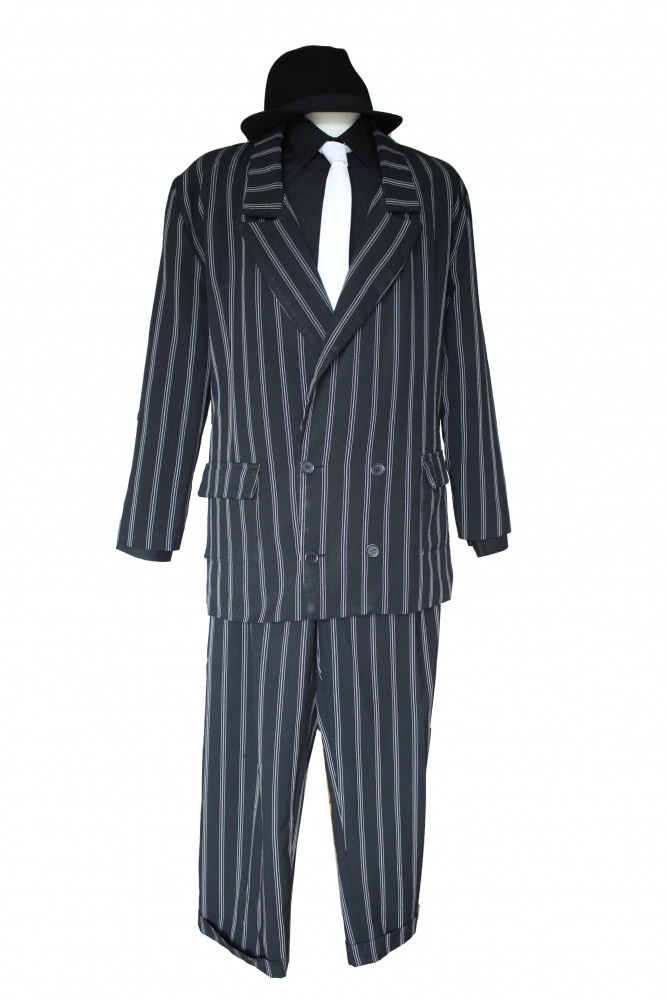 Mens 1920s 1930s Gangster Blues Brothers Costume Size L / XL Image