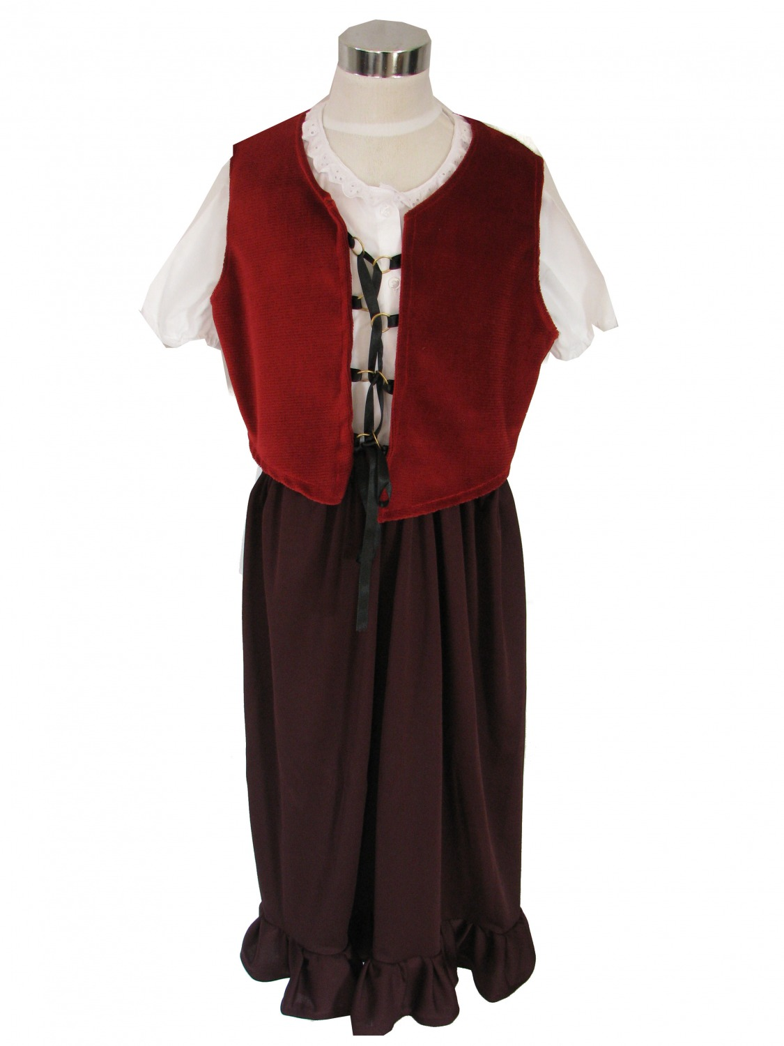 Girls Medieval Tudor Fancy Dress Costume Age 7 - 9 Years Image
