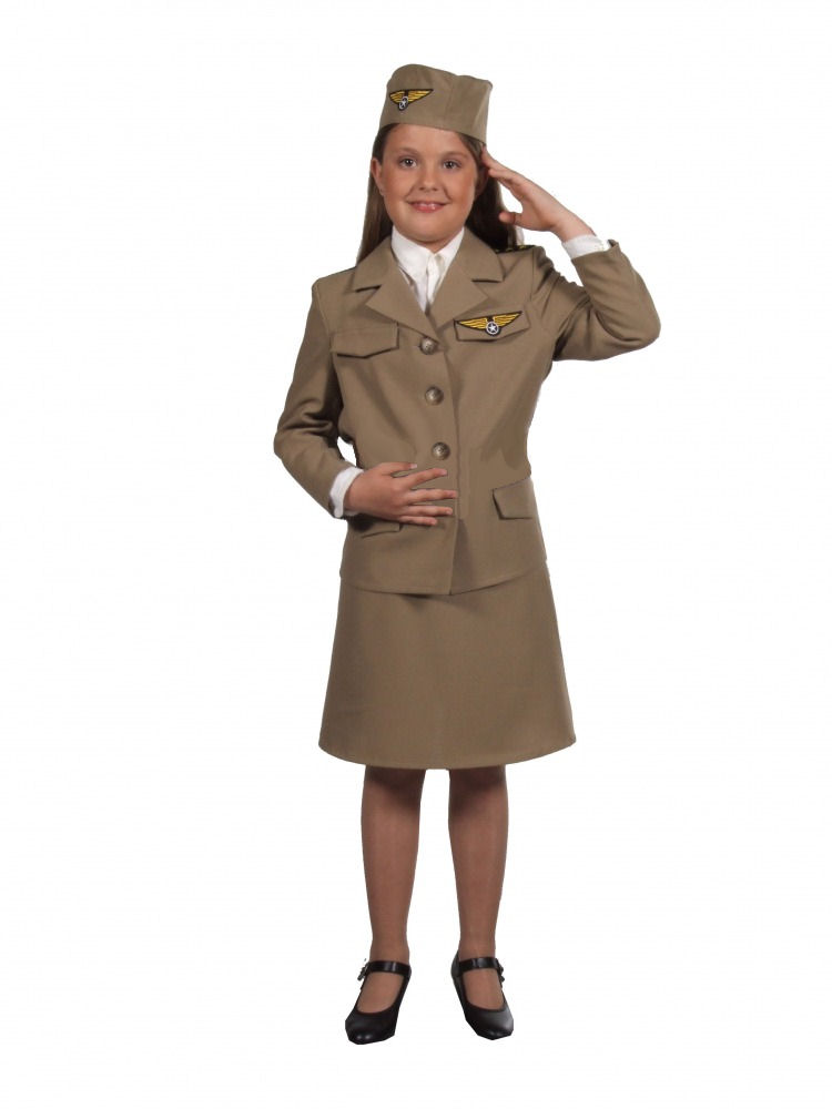 Girls 1940s WW11 Wartime Army Uniform Costume Image