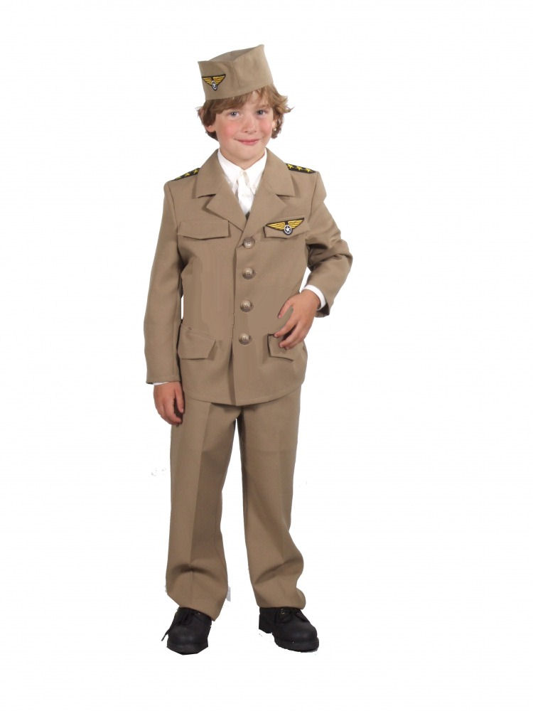 Boys 1940s Wartime WW11 Army Uniform Fancy Dress Costume Image