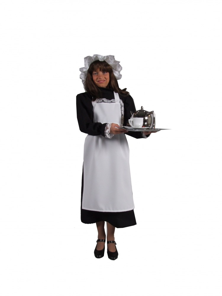 Girls Victorian Maid Fancy Dress Costume Image