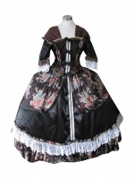 Ladies Black Medieval Georgian Victorian Three Tiered Underskirt