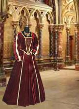 Ladies Medieval Tudor Ann Boleyn Costume And French Hood Headdress Size 8 - 10