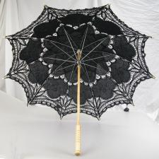 Ladies Black Lacy Handmade Regency Parasol