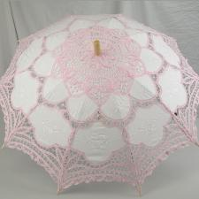 Ladies White And Pink Lacy Handmade Regency Victorian Parasol