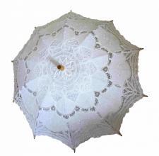 Ladies White Lacy Handmade Regency Victorian Parasol  Image