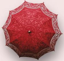 Ladies Red Lacy Handmade Regency Parasol