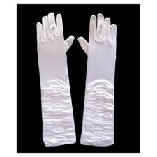 Ladies Long White Ruched Satin Over The Elbow Opera Gloves