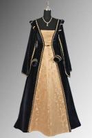 Ladies Black Medieval Georgian Victorian Three Tiered Underskirt (S/M)