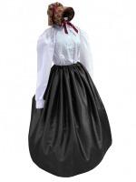Ladies Black Medieval Georgian Victorian Three Tiered Underskirt (L/XL)