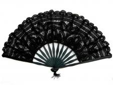 Ladies Black 18th Century Marie Antoinette Masked Ball Handmade Cotton Lace Fan