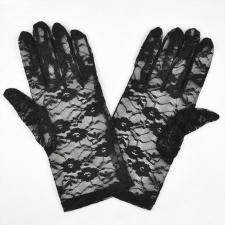Ladies Black Victorian Regency Lacy Gloves